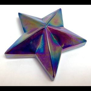 Summit Glass Star Paperweight Blue Carnival